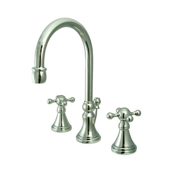 Elements of Design Chrome Knight Metal Cross Handle Widespread Bathroom Sink Faucet