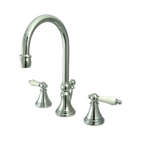Elements of Design Chrome Porcelain Lever Handle Widespread Bathroom Sink Faucet