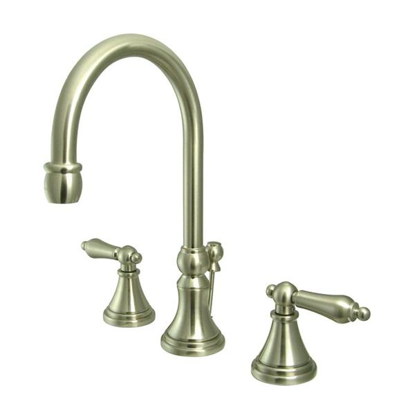 Elements of Design Satin Nickel Metal Lever Handle Widespread Bathroom Sink Faucet