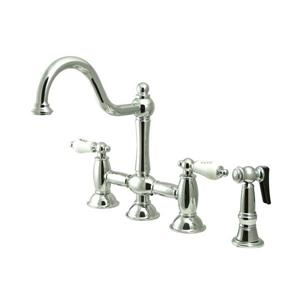 Elements of Design Restoration Chrome 2-Handle Deck Mount Bar and Prep Kitchen Faucet With Sprayer