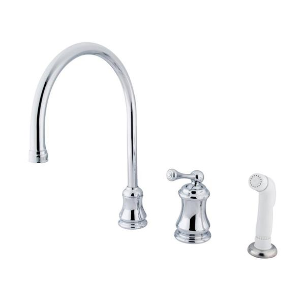 Elements of Design Chicago Chrome 1-Handle Deck Mount High-Arc Kitchen Faucet With Sprayer