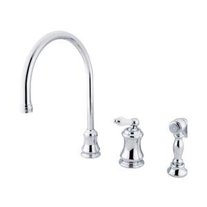 Elements of Design Chicago Chrome 13-in Level Handle Deck Mount High-Arc Kitchen Faucet with Sprayer