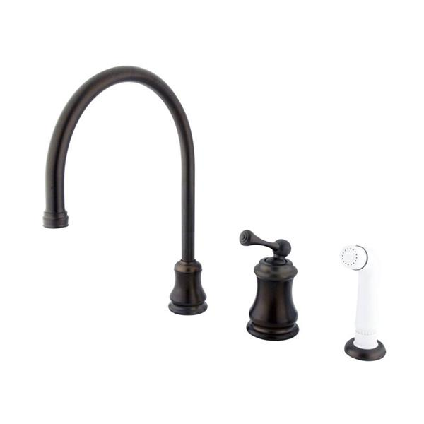 Elements of Design Chicago Oil-Rubbed Bronze 13-in Level Handle Deck Mount High-Arc Kitchen Faucet with Sprayer