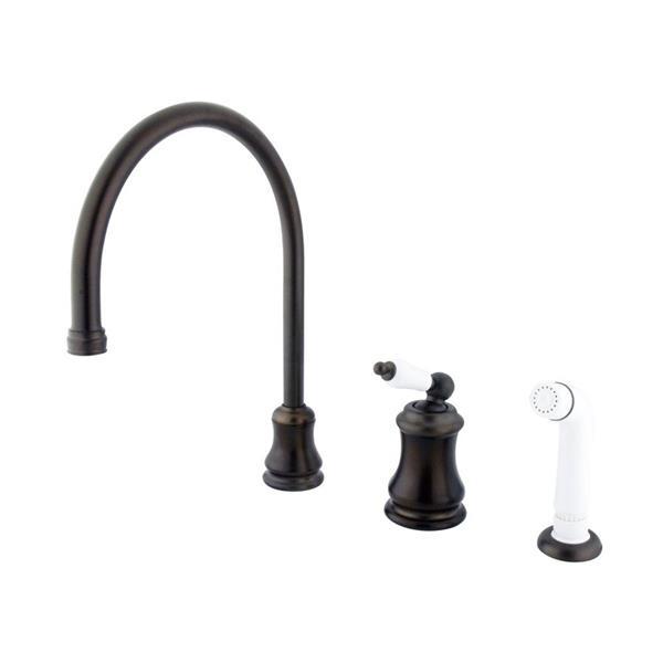 Elements of Design Chicago Oil-Rubbed Bronze Level Handle Deck Mount High-Arc Kitchen Faucet