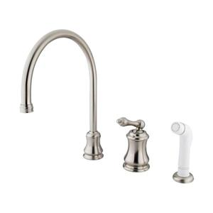 Elements of Design Chicago Satin Nickel 13-in Level Handle Deck Mount High-Arc Kitchen Faucet with Sprayer