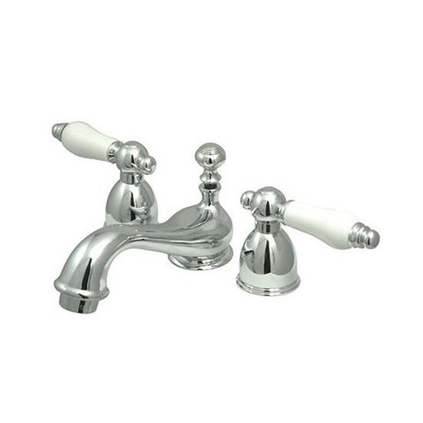 Elements of Design Chicago 4-in Chrome Porcelain Lever Handle Mini Widespread Bathroom Faucet