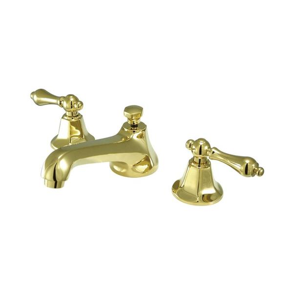 Elements of Design New York Polished Brass Metal lever handle Widespread Bathroom Sink Faucet