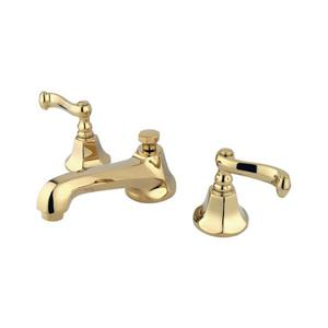 Elements of Design New York Polished Brass French lever handle Widespread Bathroom Sink Faucet