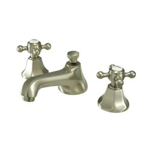 Elements of Design New York Satin Nickel Cross Handle Widespread Bathroom Sink Faucet