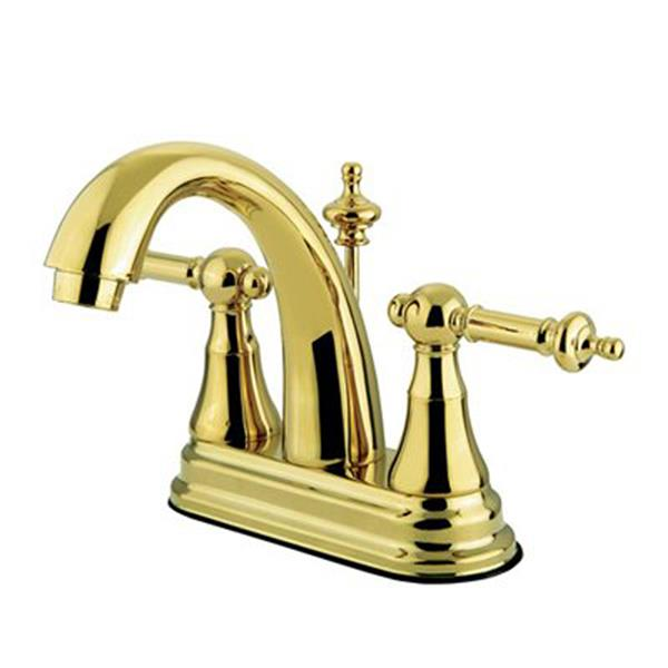 Elements of Design Templeton 4-in Polished Brass 2-Handle Centerset Bathroom Faucet