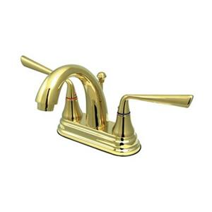 Elements of Design Silver Sage 4-in Polished Brass 2-Handle Centerset Bathroom Faucet