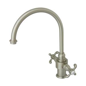 Elements of Design French Country Satin Nickel 13.5-in 2-Handle Deck Mount High-Arc Kitchen Faucet