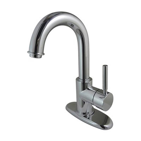 Elements of Design Concored Chrome 1 Handle 4-in Centerset Bathroom Faucet with Drain