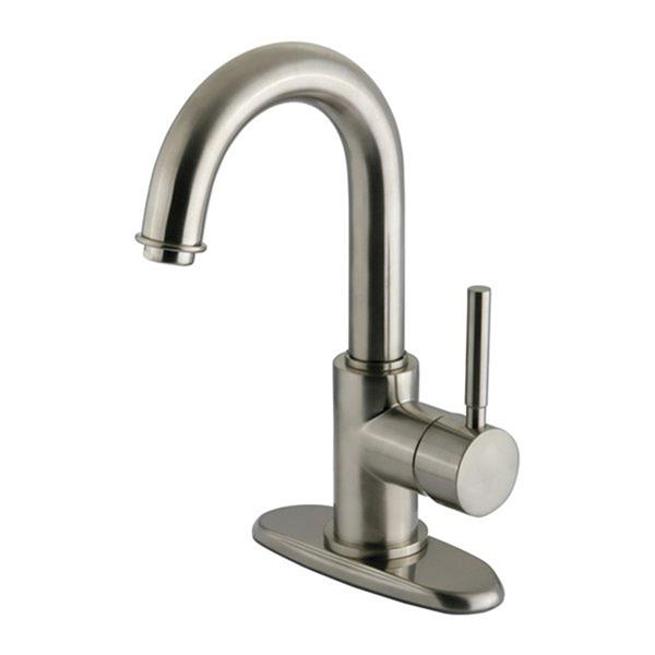 Elements of Design Concord Satin Nickel Lever Handle Bathroom Faucet with Drain