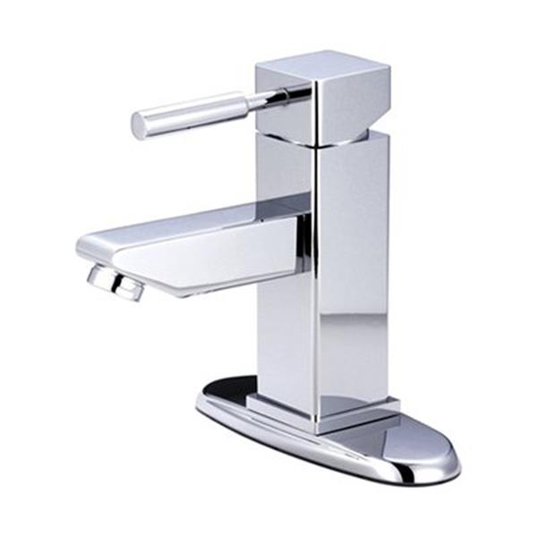 Elements of Design Concord Chrome 1 Handle 4-in Centerset Bathroom Faucet with Drain