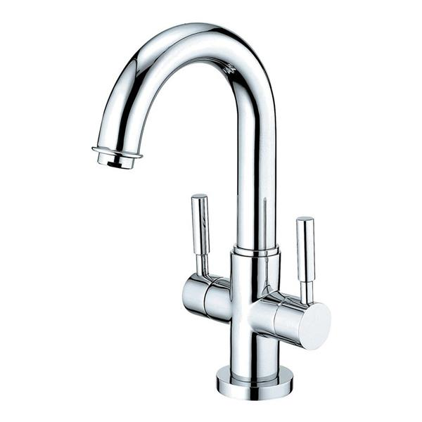 Elements of Design Concord Chrome Twin Lever Handle 4-in Centerset Bathroom Faucet With Drain