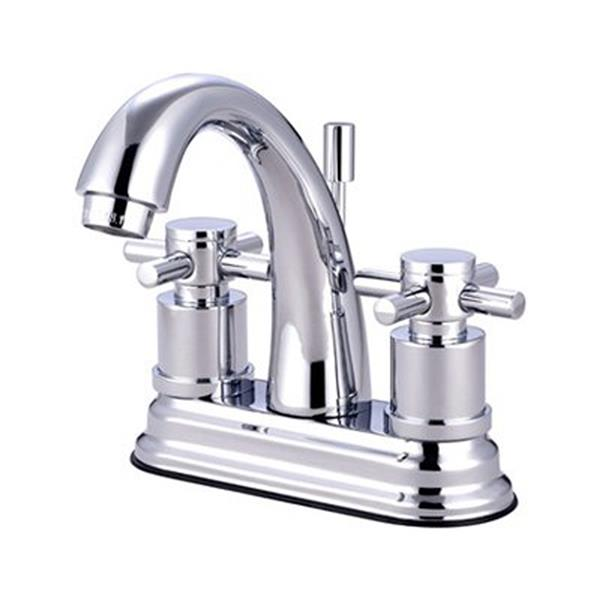 Elements of Design Concord Chrome 2 Handle 4-in Centerset Bathroom Faucet with Drain
