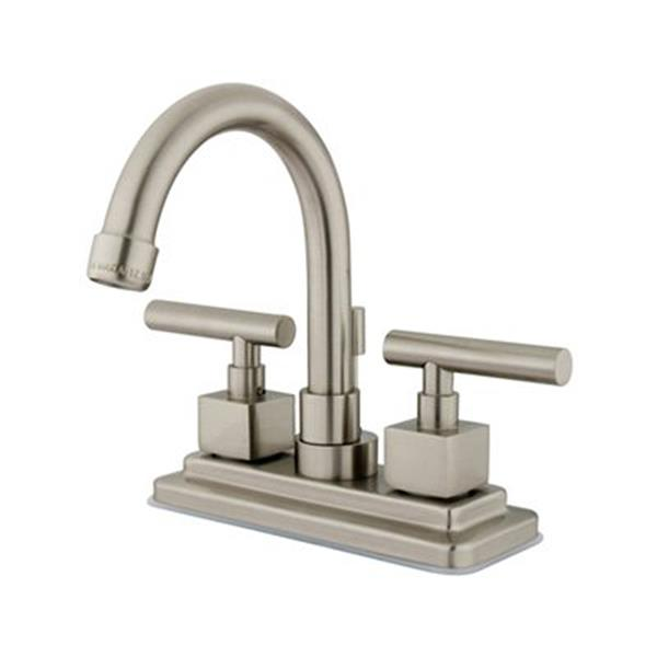 Elements of Design Claremont Satin Nickel 2 Handle 4-in Centerset Bathroom Faucet Drain included