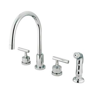 Elements of Design Manhattan Polished Chrome 11.5-in 2-Handle Deck Mount High-Arc Kitchen Faucet