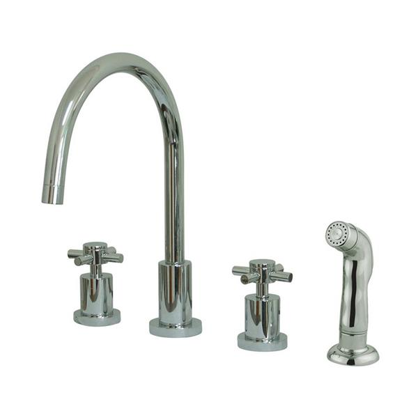 Elements of Design Concord Chrome 11.5-in 2-Handle Deck Mount High-Arc Kitchen Faucet