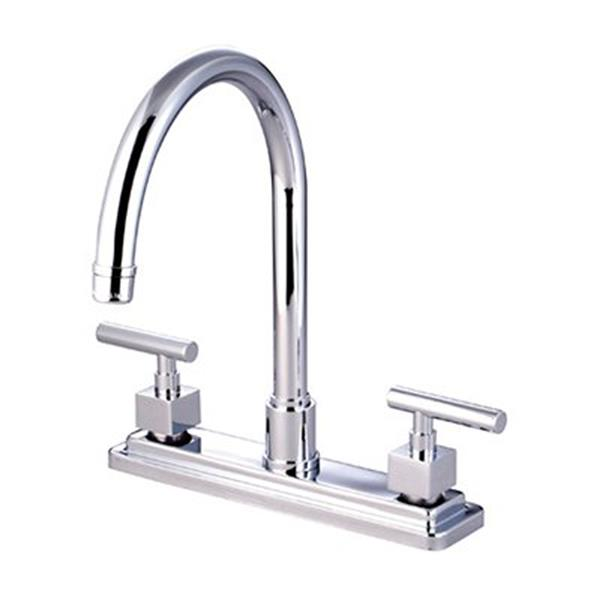 Elements of Design Claremont Chrome 12.5-in 2-Handle Deck Mount High-Arc Kitchen Faucet