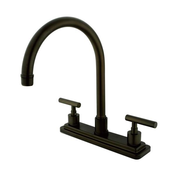 Elements of Design Manhattan Oil-Rubbed Bronze 12.5-in 2-Handle Deck Mount High-Arc Kitchen Faucet