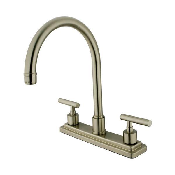 Elements of Design Manhattan Satin Nickel 12.5-in 2-Handle Deck Mount High-Arc Kitchen Faucet
