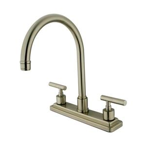 Elements of Design Manhattan Satin Nickel 12.5-in 2-Handle Deck Mount High-Arc Kitchen Faucet