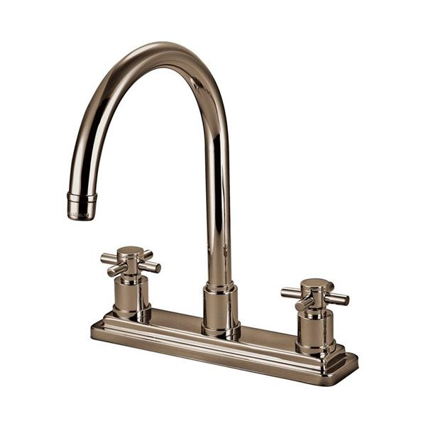 Elements of Design Satin Nickel 8.5-in 2-Handle Deck Mount High-Arc Kitchen Faucet