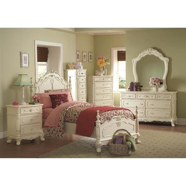 Homelegance Cinderella White Victorian Twin Bed Frame