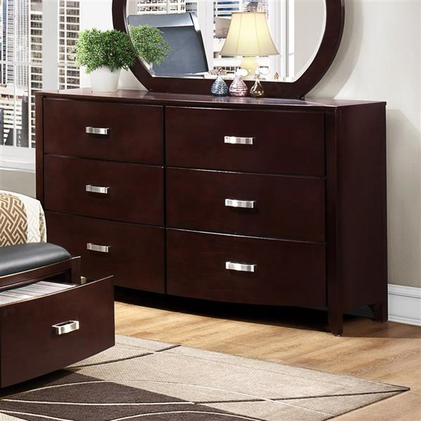 Homelegance Lyric 61.50-in x 36.75-in Dark Espresso 6-Drawer Rubberwood Double Dresser