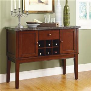Homelegance Decatur 48-in x 36-in Medium Brown Cherry Sideboard Wine Storage