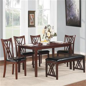 Homelegance Brooksville Cherry 36-in x 60-in 6-Piece Dining Set with Dining Table