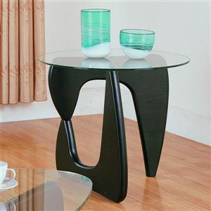 Homelegance Chorus Cool Black Round Glass Top End Table
