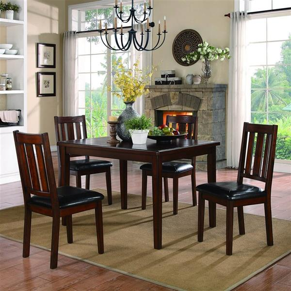 Homelegance 30-in x 47.25-in Dark Brown Cherry Mosely 5-piece Dining Set