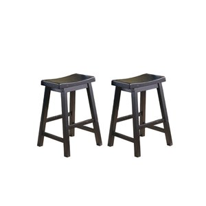Homelegance Saddleback Sand-Through Black Counter Stools (Set of 2)