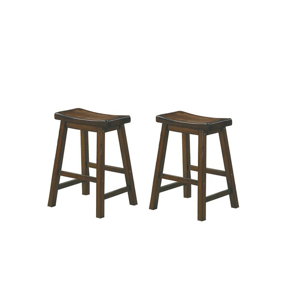 Tabouret de bar Saddleback de Mazin Industries, 24 po, cerisier, ensemble de 2