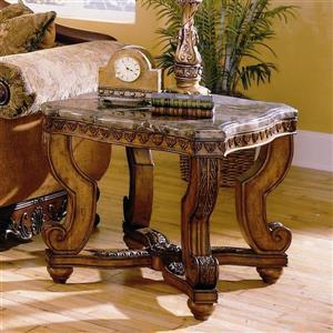 Homelegance Tarantula Burnished Brown Cherry Granite and Marble Ornate End Table