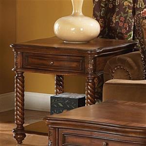 Homelegance Trammel Brown Mahogany Wood Ornate End Table