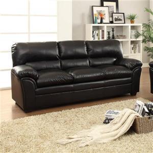 Talon Black Faux Leather Casual Sofa