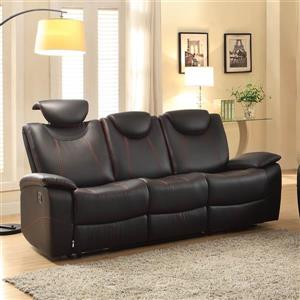 Talbot Casual Black Faux Leather Reclining Sofa