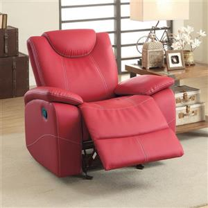 Homelegance Talbot Red Faux Leather Recliner