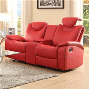 Talbot Red Faux Leather Casual Reclining Sofa