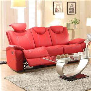 Talbot Red Faux Leather Modern Reclining Sofa