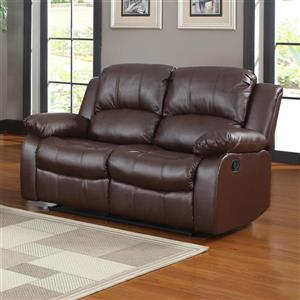 Cranley Casual Brown Faux Leather Reclining Loveseat