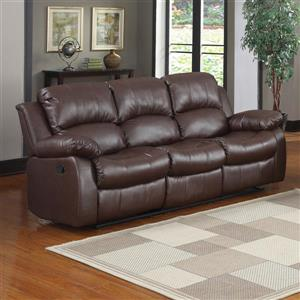 Cranley Casual Brown Faux Leather Reclining Sofa