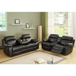 Marille Casual Black Faux Leather Reclining Loveseat