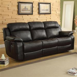 Marille Casual Black Faux Leather Reclining Sofa