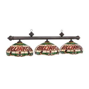 RAM Game Room Products 3-Light Billiards Stained Glass Pool Table Light