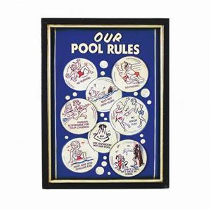 RAM Game Room Products Framed Pool Rules Sign 16-in x 22-in Wall Art